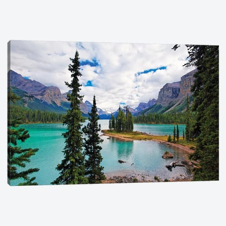 High Angle View of Spirit Island, Maligne Lake, Jasper National  Canvas Print #GOZ101} by George Oze Canvas Art