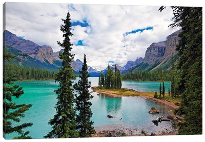 High Angle View of Spirit Island, Maligne Lake, Jasper National  Canvas Art Print