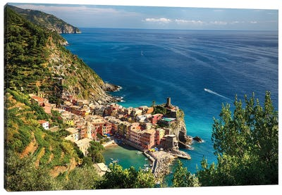 High Angle View of the Ligurian Coast at Vernazza, Cinque Terre, Italy Canvas Art Print