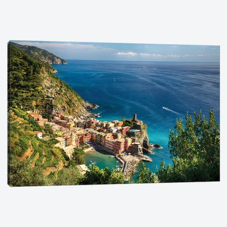 High Angle View of the Ligurian Coast at Vernazza, Cinque Terre, Italy Canvas Print #GOZ102} by George Oze Canvas Art