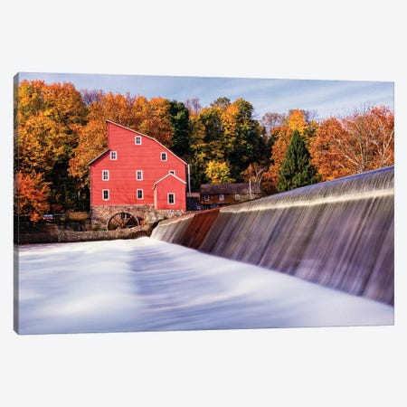 Historic Red Mill At Fall Clinton New Jersey Canvas Print #GOZ103} by George Oze Canvas Wall Art