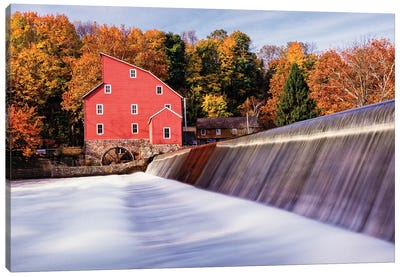 Historic Red Mill At Fall Clinton New Jersey Canvas Art Print