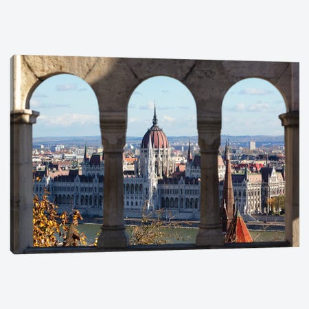 Hungarian Parliament Viewed Through of Arches Canvas Print #GOZ104} by George Oze Art Print