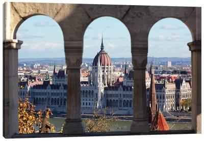Hungarian Parliament Viewed Through of Arches Canvas Art Print