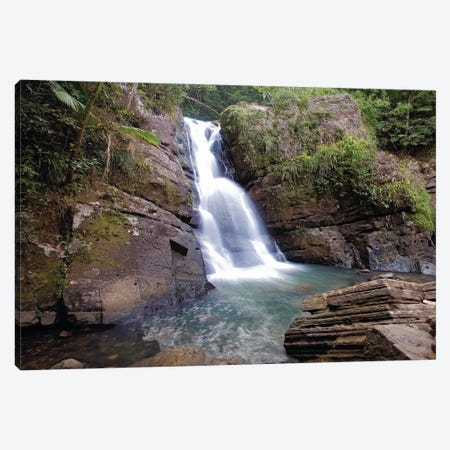 La Mina Waterfall in El Yunque Rainforest, Puerto Rico Canvas Print #GOZ107} by George Oze Canvas Art Print