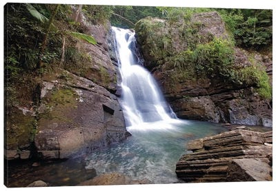 La Mina Waterfall in El Yunque Rainforest, Puerto Rico Canvas Art Print