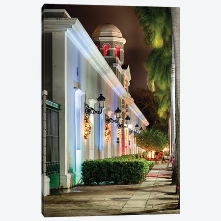 La Princesa Building with Holiday Decoration at Night, San Juan, Puerto Rico Canvas Print #GOZ108} by George Oze Canvas Wall Art