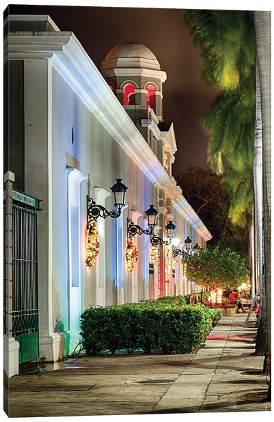 La Princesa Building with Holiday Decoration at Night, San Juan, Puerto Rico Canvas Art Print