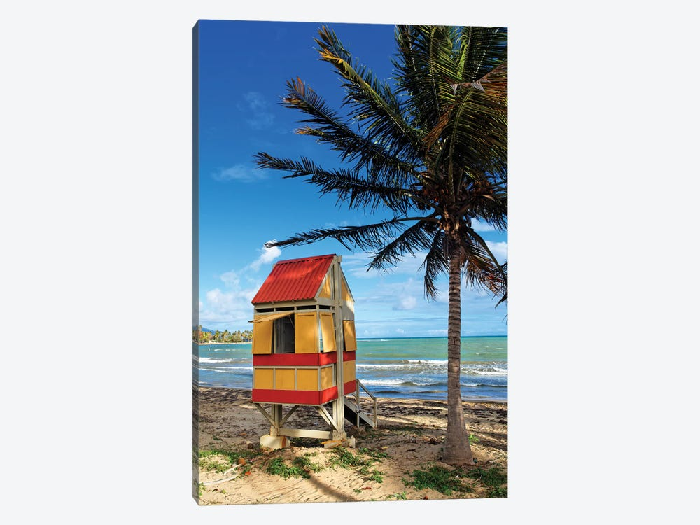Lifeguard Hut on a Beach, Arroyo, Puerto Rico by George Oze 1-piece Canvas Art Print