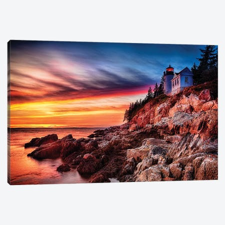 Lighthouse on a Cliff at Sunset, Bass Harbor Head Lighthouse, Maine Canvas Print #GOZ113} by George Oze Art Print