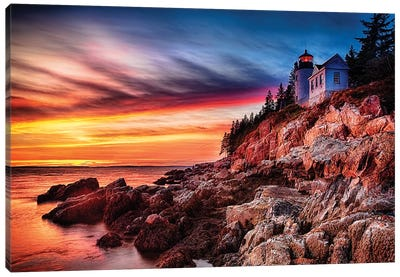 Lighthouse on a Cliff at Sunset, Bass Harbor Head Lighthouse, Maine Canvas Art Print