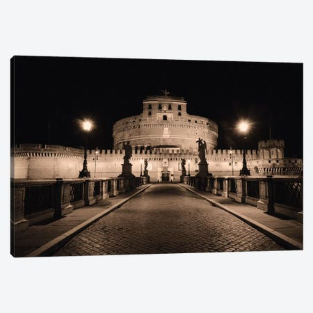 Low Angle Nighttime View of the Castle of the Holy Angel, Rome, Lazio, Italy Canvas Print #GOZ118} by George Oze Art Print