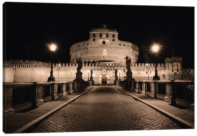 Low Angle Nighttime View of the Castle of the Holy Angel, Rome, Lazio, Italy Canvas Art Print