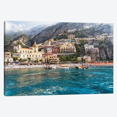 Low Angle View of Positano from The Sea, Amalfi Coast, Campania, Italy Canvas Print #GOZ120} by George Oze Canvas Wall Art