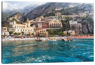 Low Angle View of Positano from The Sea, Amalfi Coast, Campania, Italy Canvas Art Print