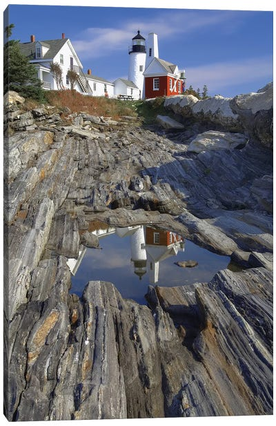 Low Angle View of the Pemaquid Point Lighthouse with Image Refelected in Tidal Pool, Maine  Canvas Art Print
