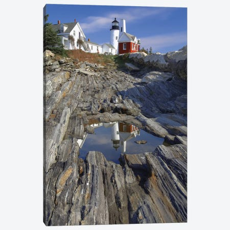 Low Angle View of the Pemaquid Point Lighthouse with Image Refelected in Tidal Pool, Maine  Canvas Print #GOZ121} by George Oze Canvas Art