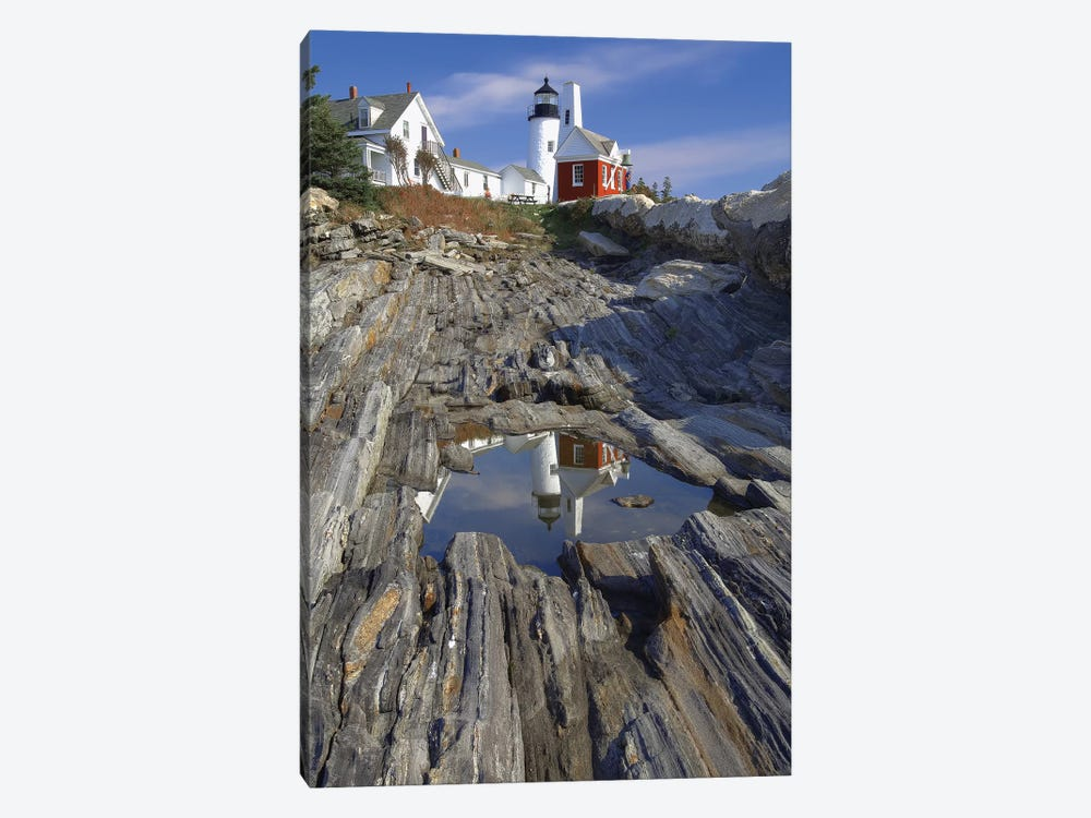 Low Angle View of the Pemaquid Point Lighthouse with Image Refelected in Tidal Pool, Maine  by George Oze 1-piece Art Print