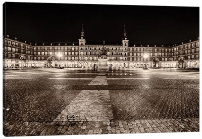 Low Angle View of the Plaza Mayor at Night, Madrid, Spain Canvas Art Print