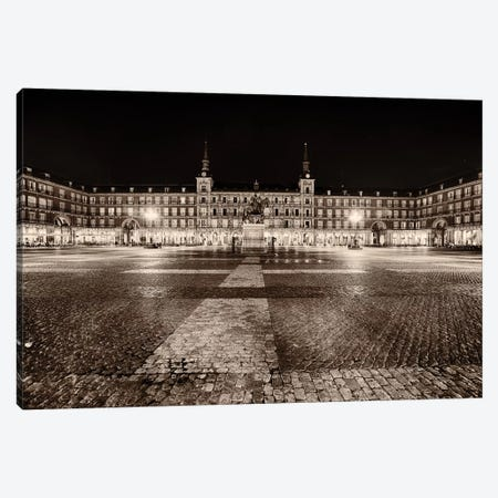 Low Angle View of the Plaza Mayor at Night, Madrid, Spain Canvas Print #GOZ122} by George Oze Canvas Art