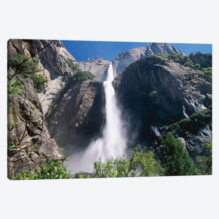 Low Angle View of the Yosemite Fallas, California Canvas Print #GOZ123} by George Oze Canvas Wall Art