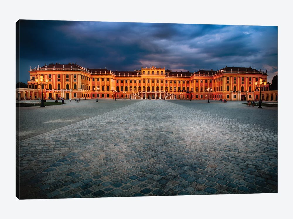 Main Entrance View of the Schonbrunn Palace at Night by George Oze 1-piece Canvas Art