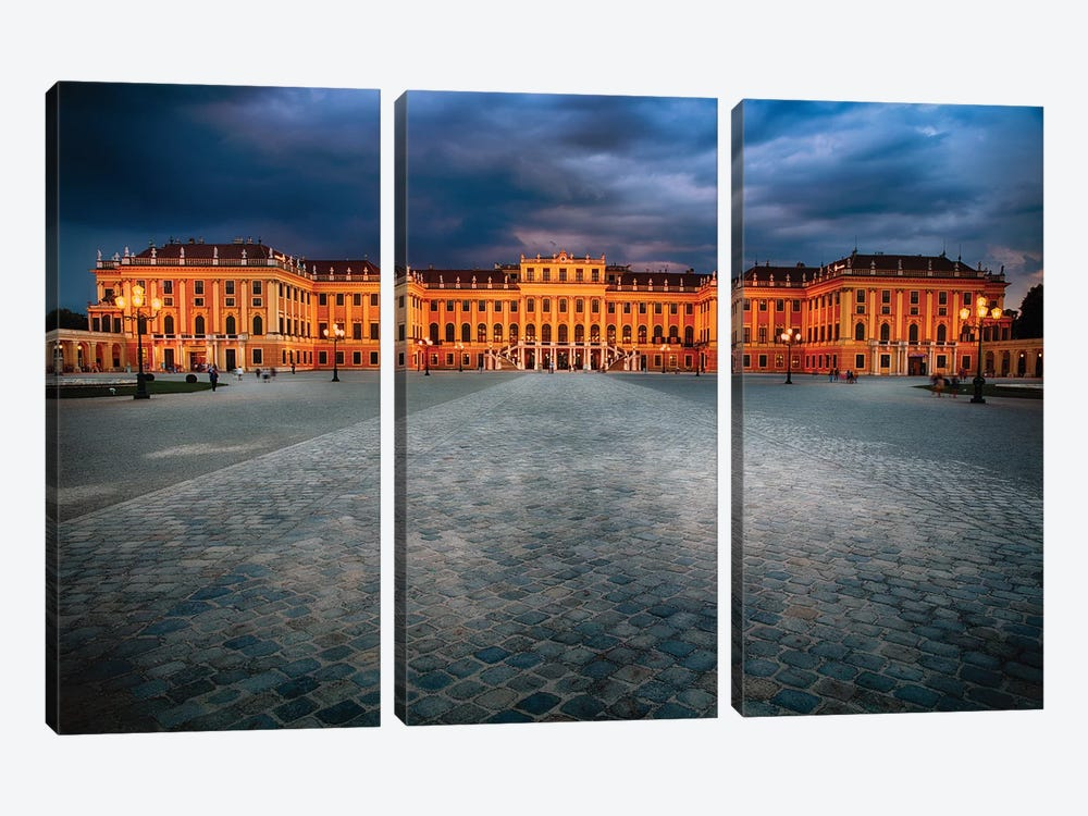 Main Entrance View of the Schonbrunn Palace at Night by George Oze 3-piece Canvas Artwork