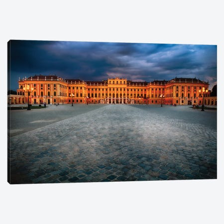 Main Entrance View of the Schonbrunn Palace at Night Canvas Print #GOZ126} by George Oze Canvas Print