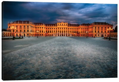 Main Entrance View of the Schonbrunn Palace at Night Canvas Art Print