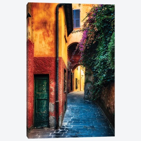 Narrow Street with Bougainvillea Flowers, Portofino, Liguria, Italy Canvas Print #GOZ129} by George Oze Canvas Wall Art