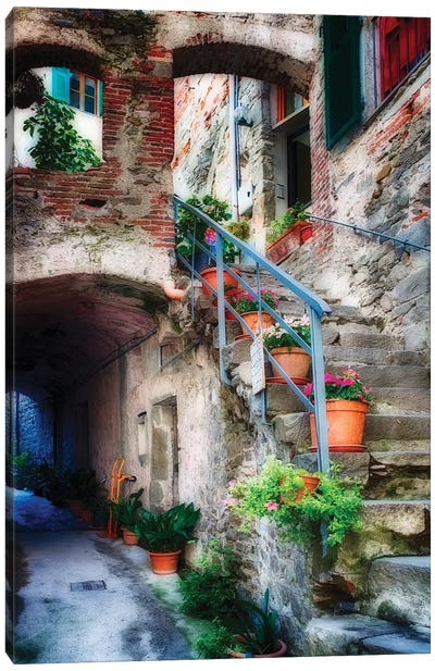 Narrow Street with Stairs, Corniglia, Cinque Terre, Liguria, Italy Canvas Art Print
