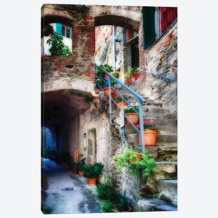 Narrow Street with Stairs, Corniglia, Cinque Terre, Liguria, Italy Canvas Print #GOZ130} by George Oze Canvas Art Print