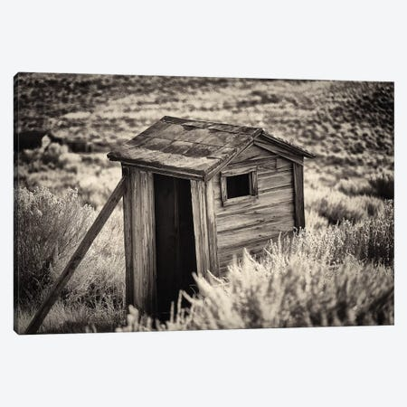 Old Outhouse in the Field, Bodie State Park, California Canvas Print #GOZ135} by George Oze Canvas Artwork