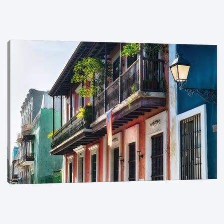 Olld San Juan Street in Atmospheric Light 3-Piece Canvas #GOZ139} by George Oze Canvas Art Print