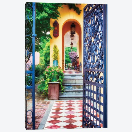 Open Doorway of a Southern Style Home, Charleston, South Carolina Canvas Print #GOZ140} by George Oze Canvas Artwork