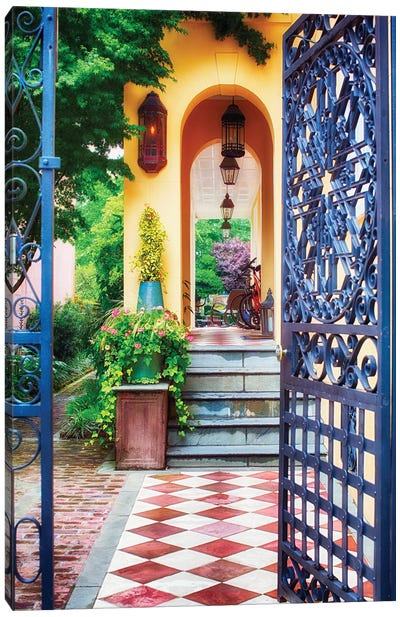 Open Doorway of a Southern Style Home, Charleston, South Carolina Canvas Art Print