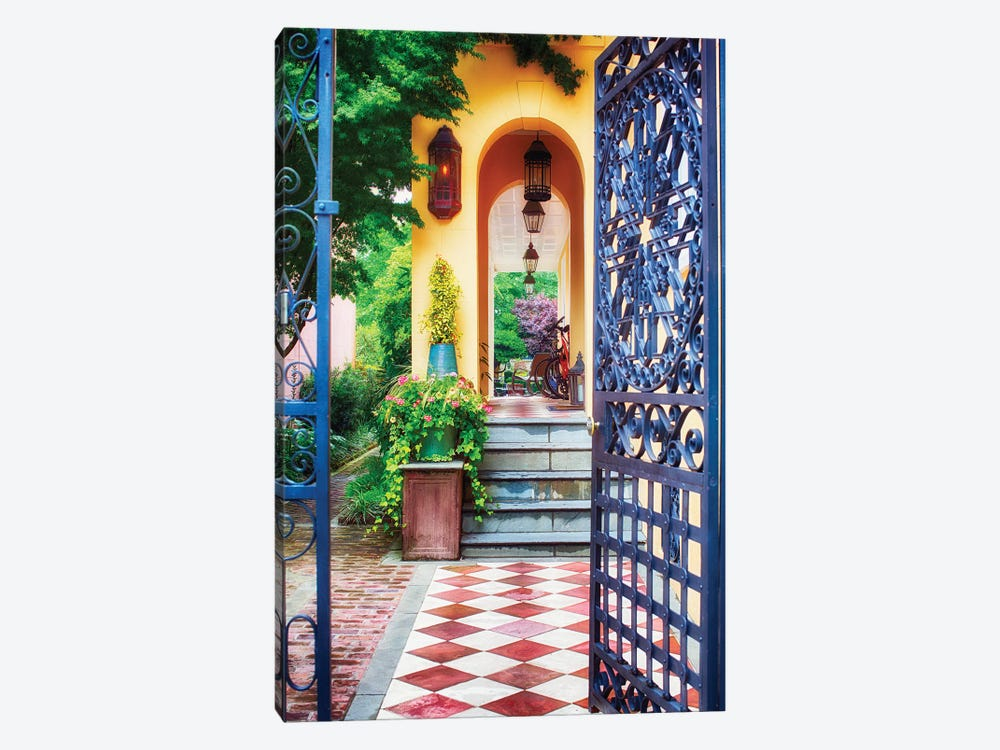 Open Doorway of a Southern Style Home, Charleston, South Carolina by George Oze 1-piece Canvas Artwork