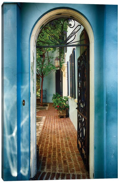Open Wrought Iron Door to a Historic House, Charleston, South Carolina Canvas Art Print