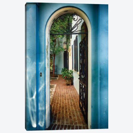 Open Wrought Iron Door to a Historic House, Charleston, South Carolina Canvas Print #GOZ141} by George Oze Canvas Artwork