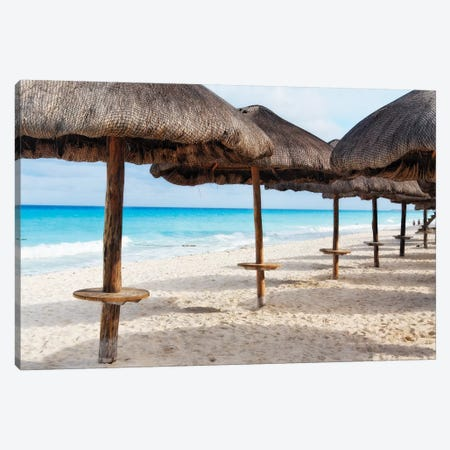 Palapas Lined up on the Beach, Cancun, Mexico Canvas Print #GOZ143} by George Oze Canvas Art