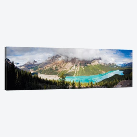 Panoramic Aerial View of Peyto Lake, Alberta, Canada 3-Piece Canvas #GOZ145} by George Oze Canvas Art Print