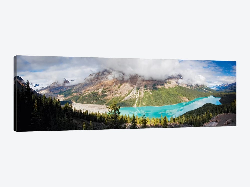 Panoramic Aerial View of Peyto Lake, Alberta, Canada by George Oze 1-piece Canvas Print