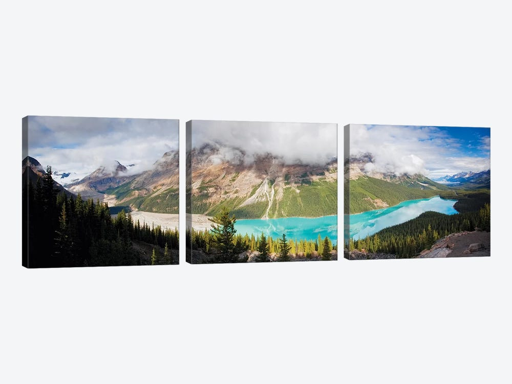 Panoramic Aerial View of Peyto Lake, Alberta, Canada by George Oze 3-piece Canvas Print