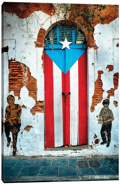 Puerto Rican Flag Door Canvas Art Print