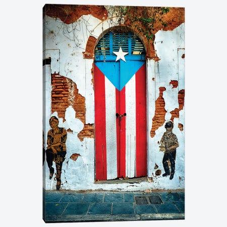 Puerto Rican Flag Door Canvas Print #GOZ155} by George Oze Canvas Artwork