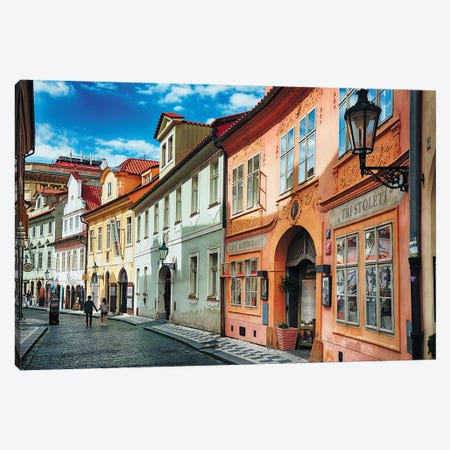 Quaint Cobblestone Misenska Street in Prague Canvas Print #GOZ157} by George Oze Canvas Art
