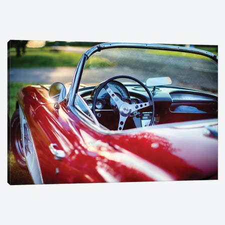 Red Classic Corvette Close Up Canvas Print #GOZ163} by George Oze Canvas Art