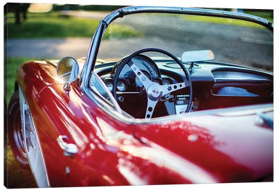Red Classic Corvette Close Up Canvas Art Print