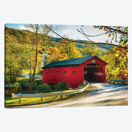 Red Covered Bridge and a Curch, Vermont Canvas Print #GOZ164} by George Oze Canvas Art Print
