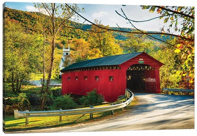 Red Covered Bridge and a Curch, Vermont Canvas Art Print